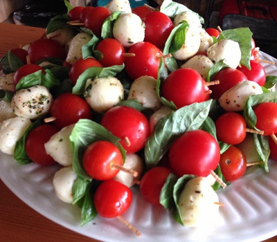Mozzarella, Basil and Tomato skewers