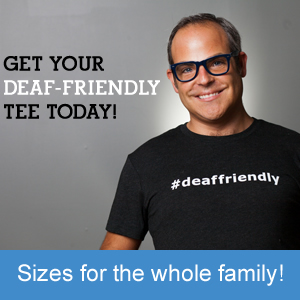 Middle aged man with glasses and wearing a black #deaffriendly tee shirt.