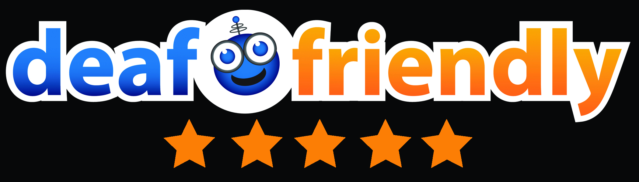 deaffriendly logo with five orange stars below