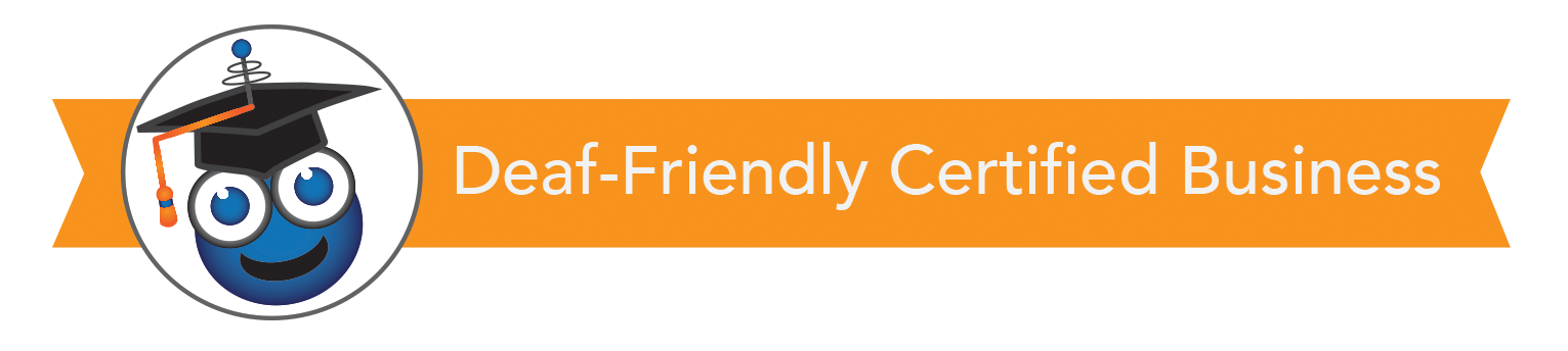deaffriendly Certified Deaf Friendly Business logo with orange banner behind it.