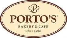 Porto's Bakery and Cafe logo in cream and brown