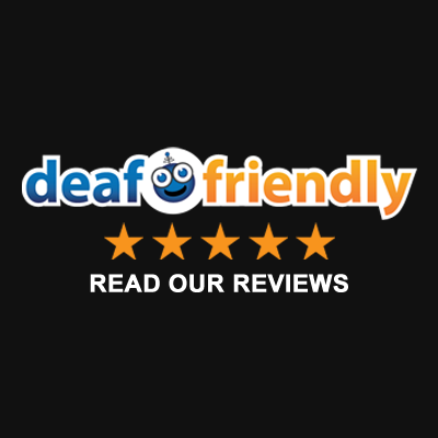 Black box with deaffriendly logo and Read Your Reviews in white captions below.